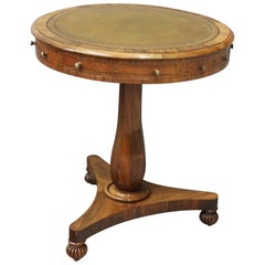 Small George IV Rosewood and Leather Top Drum Table