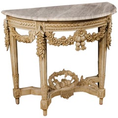 20th Century White Painted Wood French Louis XVI Style Console with Marble Top