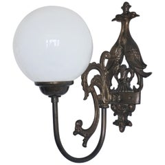 Midcentury Brass Wall Sconce with Opaline Glass Globe, Three Sconces Available