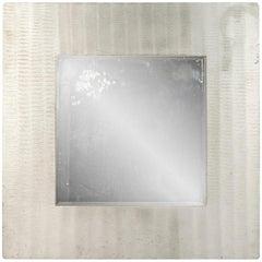 Lorenzo Burchiellaro wall mirror, etched aluminium fram, circa 1970, Italy