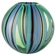 Salviati Large Perles Vase in Green and Blue