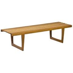 """Solid Oak """"Tokyo"""" Bench by Yngvar Sandström for Nordiska Kompaniet, Sweden 1960s"""