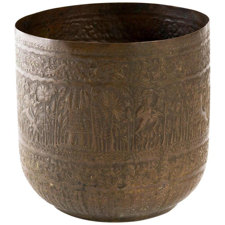 Anglo Indian Engraved Brass Vessel Jardinière
