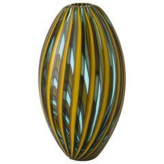Salviati Small Perles Vase in Yellow and Aquamarine