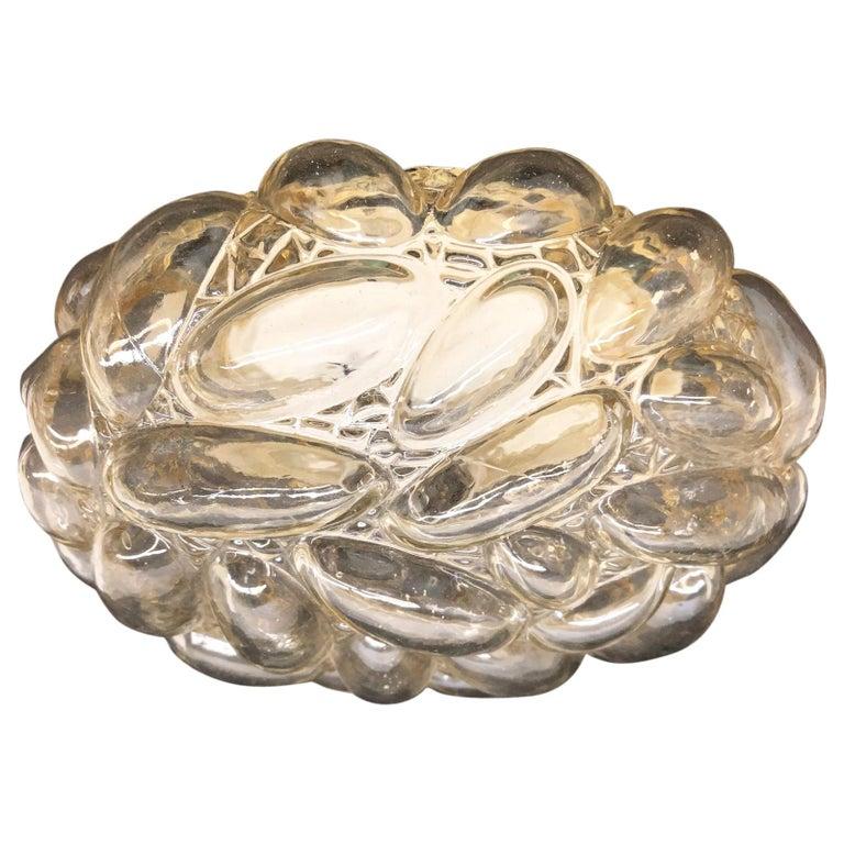 Oval Shaped Bubble Amber Glass Flush Mount by Glashuette Limburg, 1960s