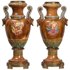 Pair of 19th Century Porcelain Neoclassical Italian Urns