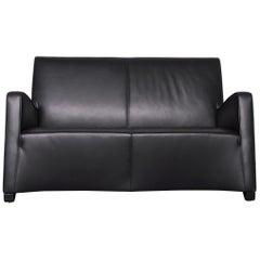 Wittmann Duke Designer Leather Sofa Black Two-Seat Couch