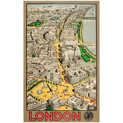 Rare Original Vintage London GWR Great Western Railway Poster Ft Bird's Eye View