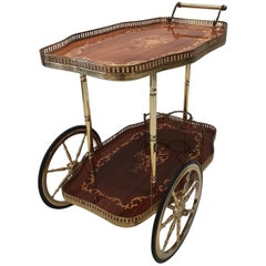 Italian Brass Trolley Bar Cart with Wooden Inlay, 1950s