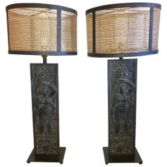 Pair of Fantastic Very Large Figural Iron Table Lamps