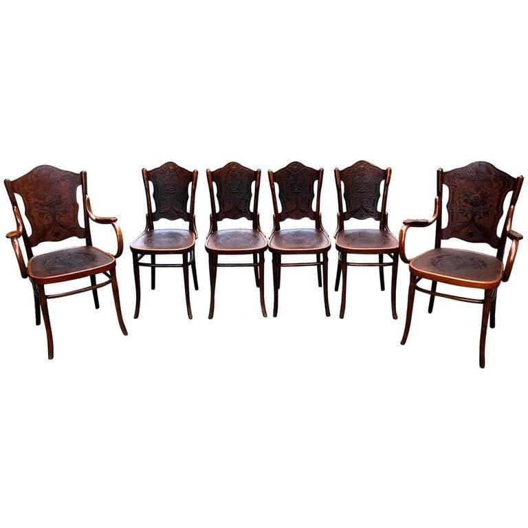 Set of Jacob & Josef Kohn Bentwood Chairs and Armchairs, Vienna, 1900