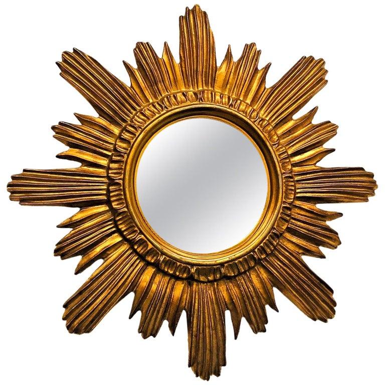 Italian Starburst Sunburst Mirror Gilded Plastic, circa 1970s
