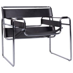 Knoll International Wassily Leather Armchair Black Chair by Marcel Breuer