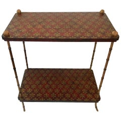 Decorative Hand-Painted Two-Tier Side Table with Brass Legs