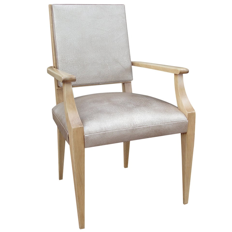 Classic French Desk Chair in Faux Shagreen Leather