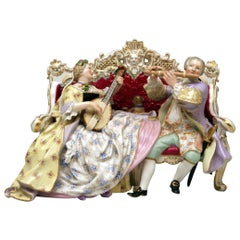 Meissen Couple Musicians on Settee Pug Dog Composer Hasse W 56 Kaendler