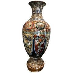 Large Japanese Cloisonné Enamel Baluster Vase, Meiji Period