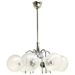 German Mid-Century Modern Polished Chrome and Glass Ball Sputnik Chandelier