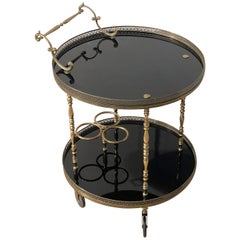 Art Deco Brass and Shiny Black Lacquer Rounded Bottle Holder Tray, France, 1940s