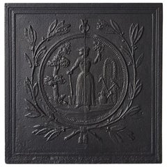 19th Century Cast Iron French Fireplace Back Plate