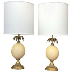 Cream and gold Brass Pineapple Shape Table Lamps, 1960s, France