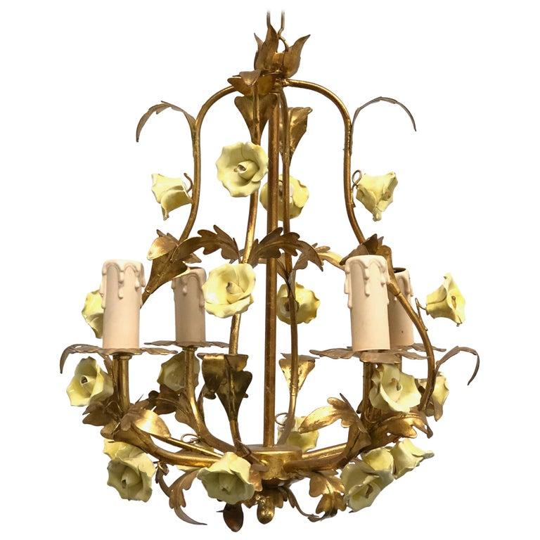 1960s Italian Gilded Rose Flower Chandelier Hollywood Regency Style