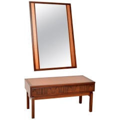1960s Danish Wood and Copper Side Table and Mirror
