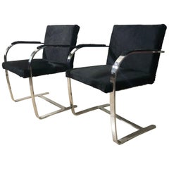 Black Horse Fur Brno Model Knoll Chairs with Armrest, Knoll Production, 1990s