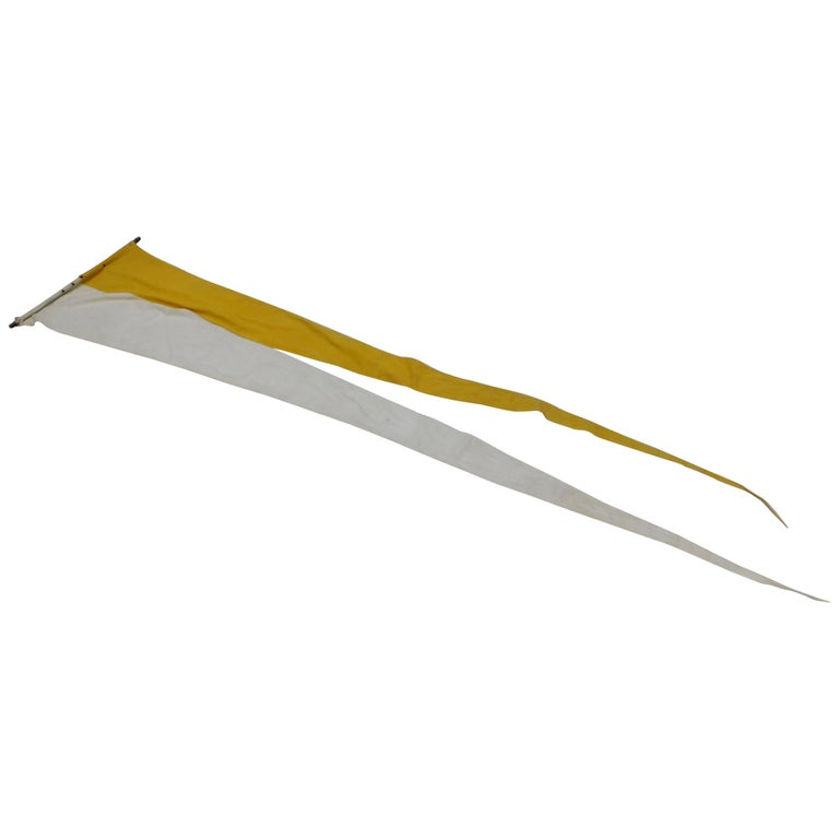 Very Long Vintage Belgian Processional Flag in Yellow and White Cotton