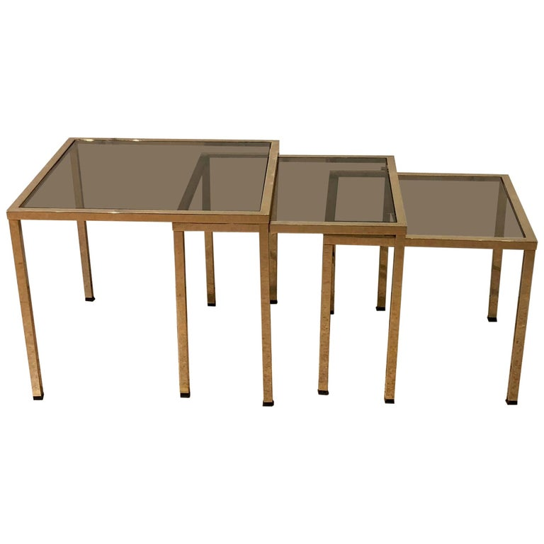 Set of Three Small Gold Brass Structure and Smoked Glass Tables, France, 1970