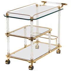 Stunning 1980s Bar Cart, Tea Trolley or Drinks Stand in Brass, Glass and Lucite
