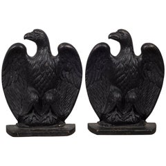 Pair of Vintage Cast Iron Eagle Bookends, circa 1940-1950s