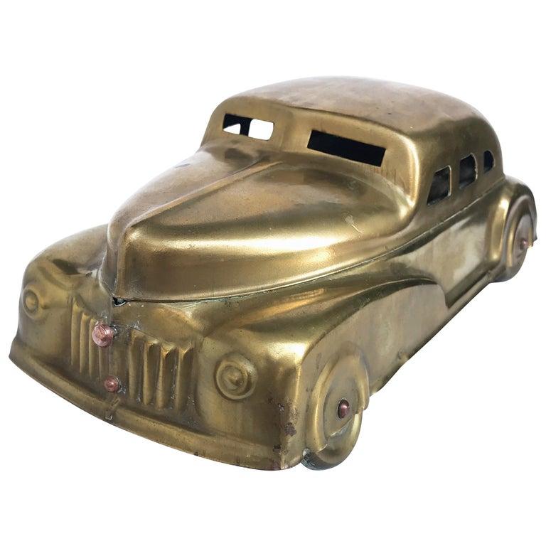 Betel Motor Car Art Deco Brass Box, Collectible Toy, Children's Paint Set, 1930s