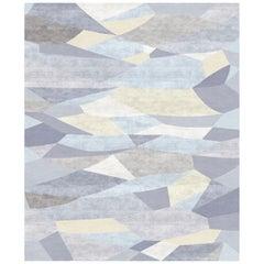 Le Marais Le Soir Contemporary Abstract Pale Blue Wool and Silk Rug