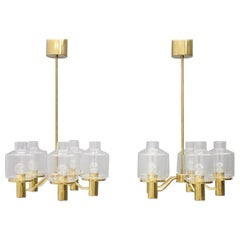 Pair of Brass and Glass Chandelier by Hans-Agne Jakobsson for AB Markaryd Sweden
