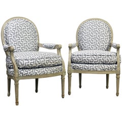 Late 19th Century French Louis XVI Style Painted Open Oval Back Armchairs, Pair