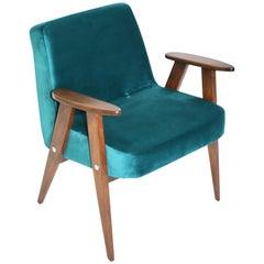 Vintage 366 Armchair in Green Velvet from, 1970s