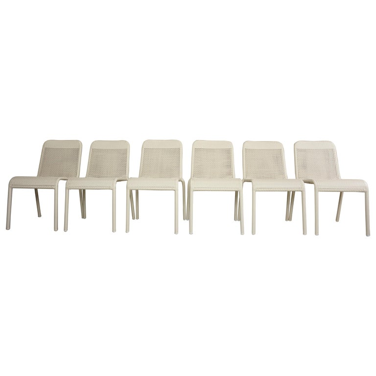 Set of Six Warm White Resin French Design Chairs For Sale