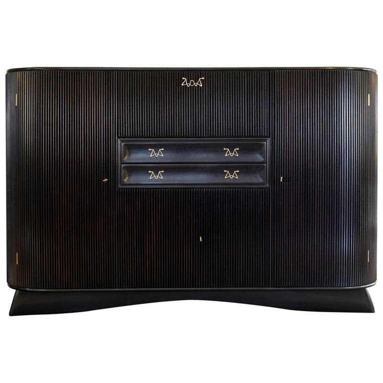 Osvaldo Borsani Dark Mahogany Tall Cabinet/Dry Bar, Brass Details, Italy, 1950s For Sale