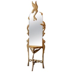 Italian Art Deco Giltwood Console Table or Mirror with Mythical Beast