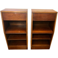 Pair of Frank Lloyd Wright for Heritage Henredon Nightstands with Sliding Shelf
