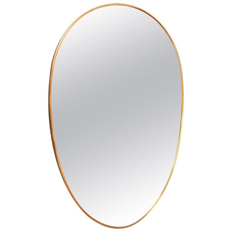 Italian Midcentury Oval Brass Wall Mirror, 1950s