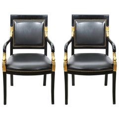 Pair of Empire Lacquered Fauteuils