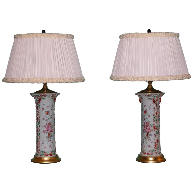 Pair of Chinese Export Porcelain Cylinder Urns Lamps Wired as Lamps