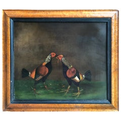 Pair of 19th Century English Sporting Paintings, Fighting Cocks
