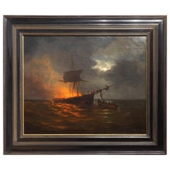 Burning Ship at Sea, Oil Painting by George Lourens Kiers Dated 1868
