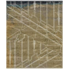 Milano Khaki Contemporary Graphic Large Wool and Silk Rug by Mike Shilov