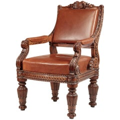 Classical Carved Oak Upholstered Armchair