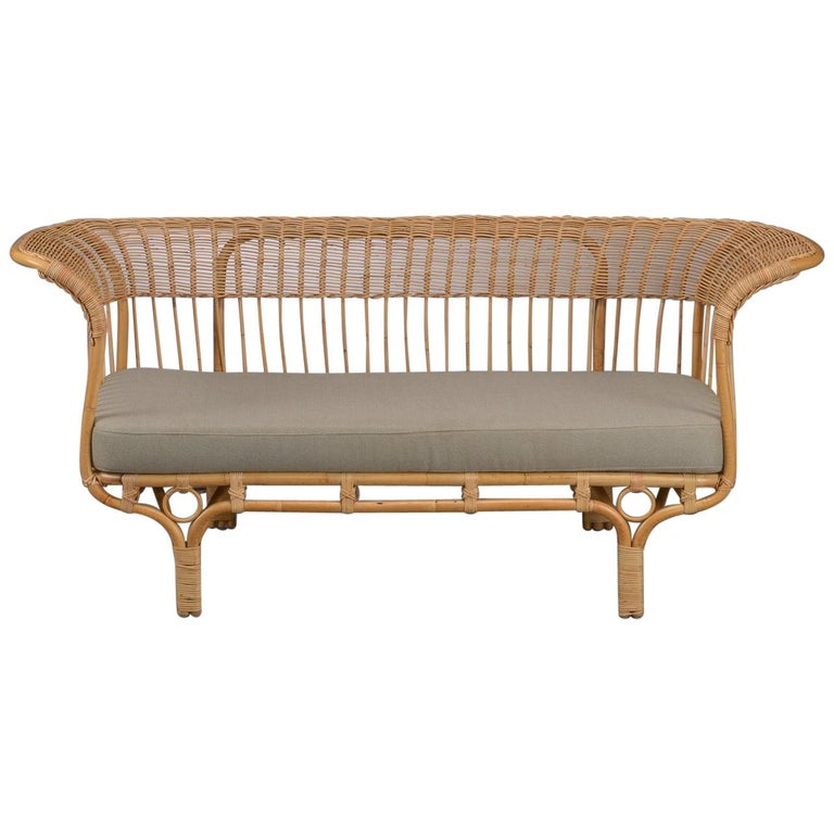 1950s Franco Albini Italian Design Rattan Sofa