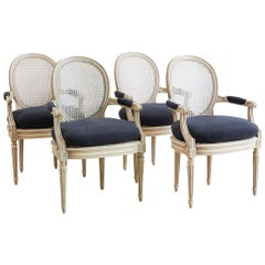 Set of Four Louis XVI Style Cane Fauteuil Dining Armchairs